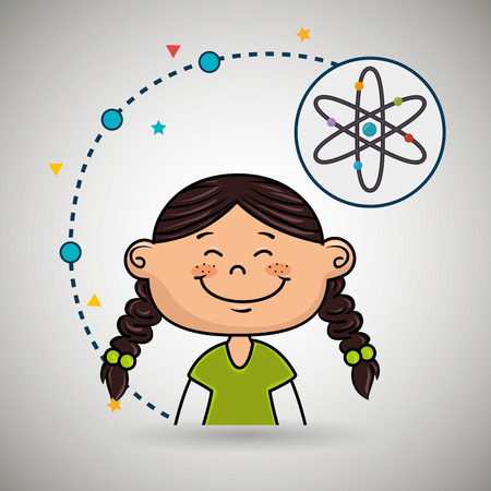 ellipse: girl cartoon atom icon vector illustration design