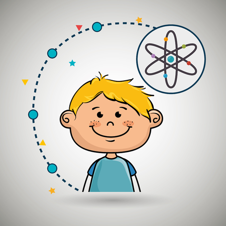 cartoon atom: boy cartoon atom icon vector illustration design