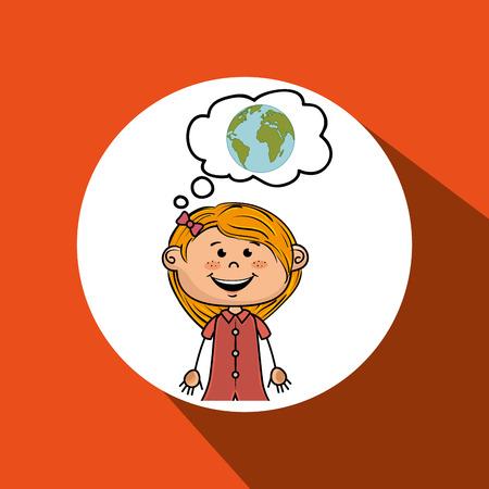 educacion ambiental: Mapa niña de dibujos animados vector de diseño global ilustración