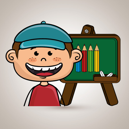 student cartoon color vector illustration design
