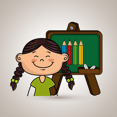 student cartoon color vector illustration design