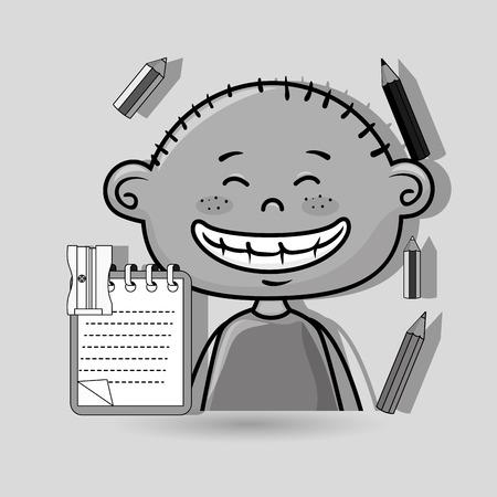 character cartoon child notebook vector illustration design