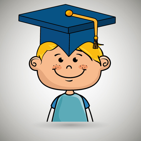 high end: boy student graduation icon vector illustration design