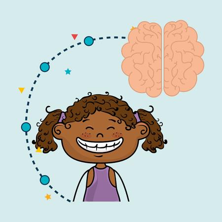 girl cartoon brain idea vector illustration design Illustration