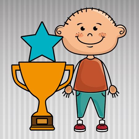 dedicate: boy trophy star icon vector illustration design
