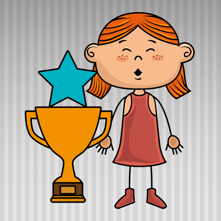 dedicate: girl trophy star icon vector illustration design