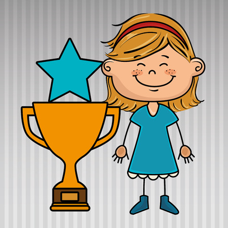 eyes are closed: girl trophy star icon vector illustration design