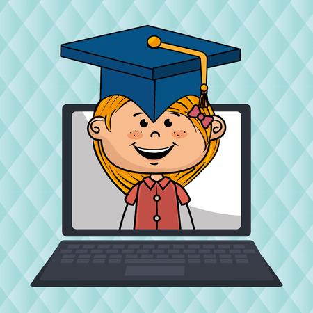 girl laptop: girl laptop student cap vector illustration design