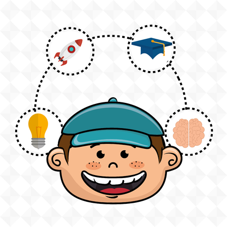 boy student idea avatar icon vector illustration design