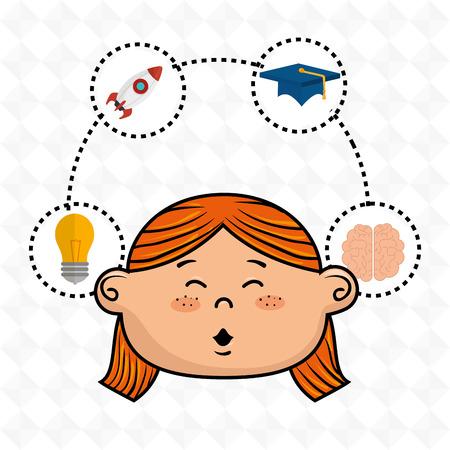 girl student idea avatar icon vector illustration design Illustration