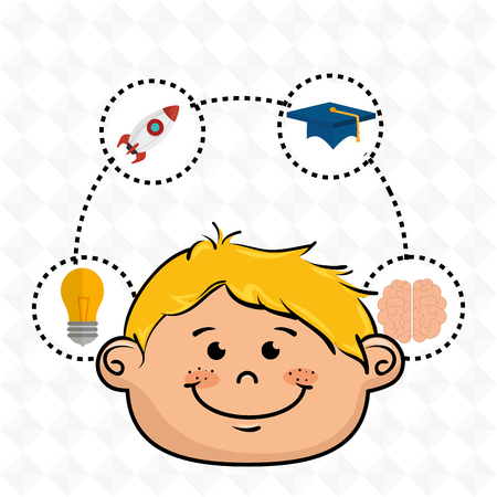 boy student idea avatar icon vector illustration design