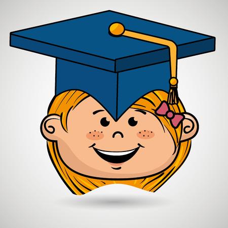 high end: girl student graduation icon vector illustration design