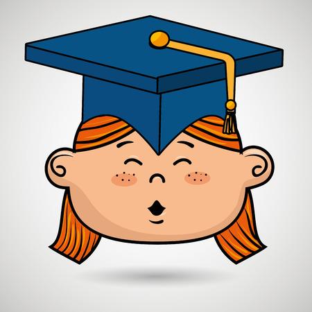 alumnus: girl student graduation icon vector illustration design