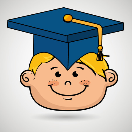 high end: boy student graduation icon vector illustration design