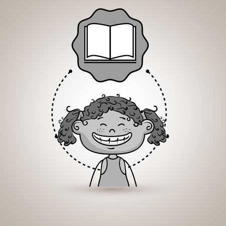 curly tail: student girl study icon vector illustration design