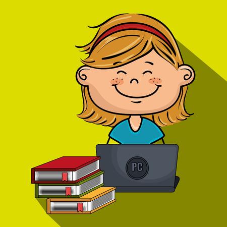 girl laptop: girl cartoon laptop books vector illustration design