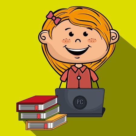 conception fille livres d'ordinateur portable de bande dessinée illustration vectorielle