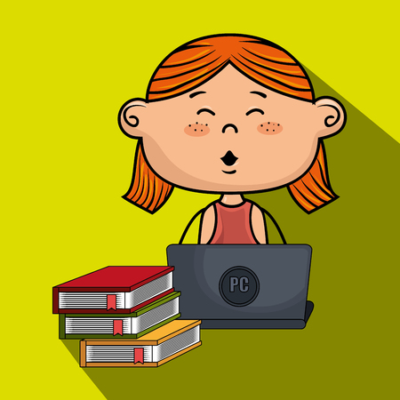 girl cartoon laptop books vector illustration design