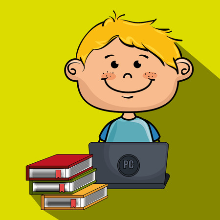 boy cartoon laptop books vector illustration design Illustration