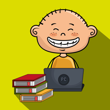 boy cartoon laptop books vector illustration design Illustration