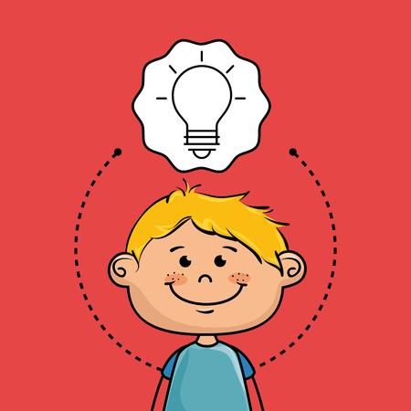 invent clever: boy cartoon cap icon vector illustration design Illustration