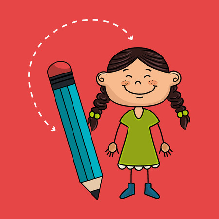 child cartoon pencil icon vector illustration design