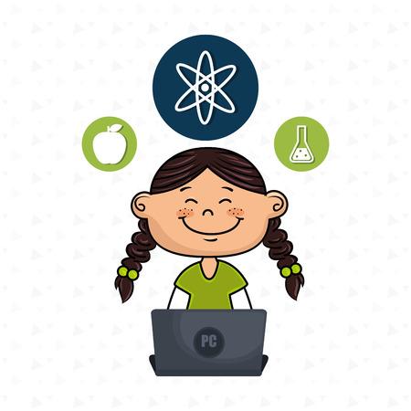 girl laptop: girl atom laptop idea vector illustration design