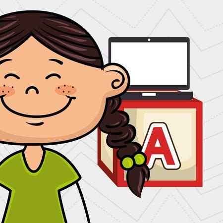 girl laptop: girl laptop cube icon vector illustration design Illustration