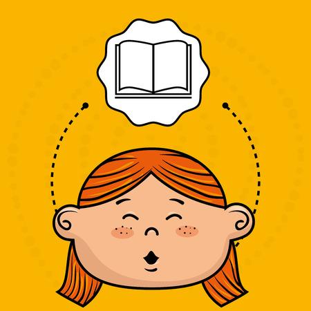 cartoon girl school icon vector illustration design