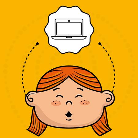 fille de bande dessinée conception icône école illustration vectorielle