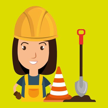 woman shovel warning construction vector illustration design