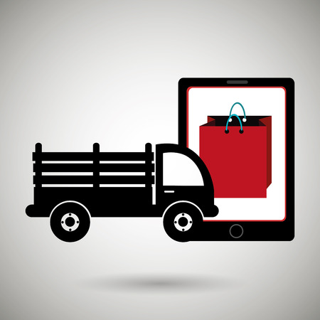 stake: truck stake delivery vector illustration