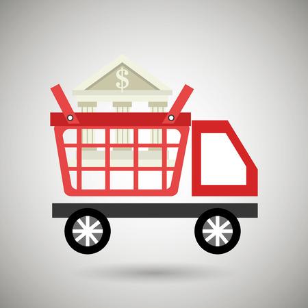 supermarket services: car shop buy online vector illustration Illustration