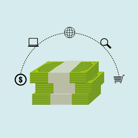 bills money dollar buy vector illustration