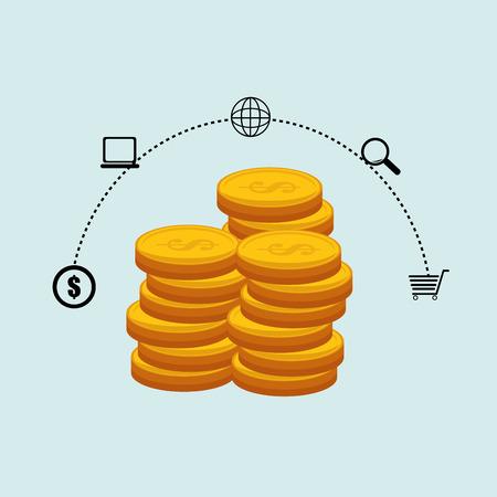 currency coins money shop vector illustration Illustration
