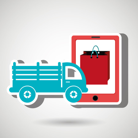 refrigerated: truck stake delivery vector illustration