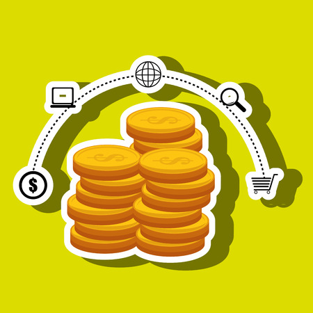 currency coins money shop vector illustration eps 10