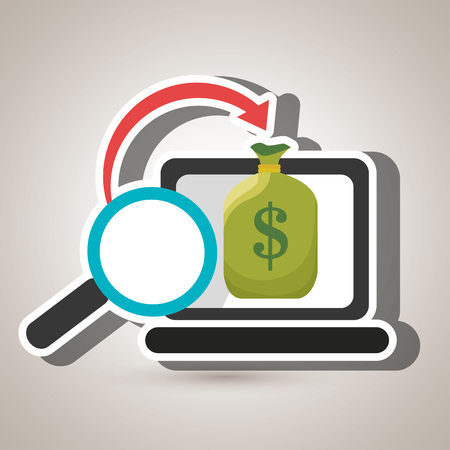 laptop search global money Illustration