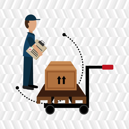 lift and carry: car hand box cargo Illustration