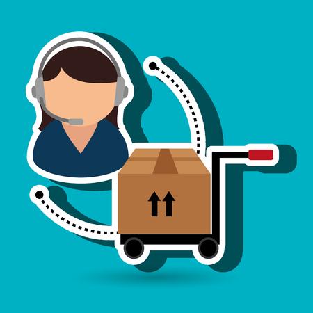 macchina a mano illustrazione vettoriale cargo box