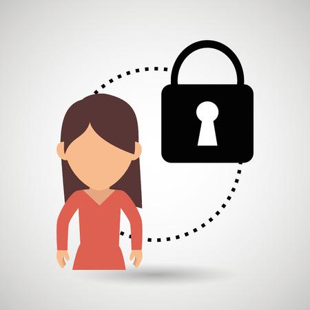 dangerous woman: character padlock secure protection vector illustration