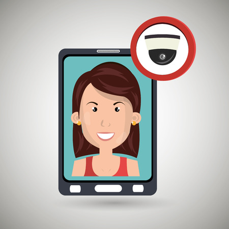 woman smartphone: woman smartphone secure vector illustration