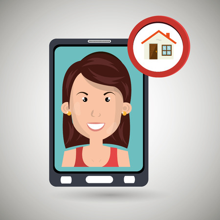 woman smartphone: woman smartphone secure vector illustration eps 10
