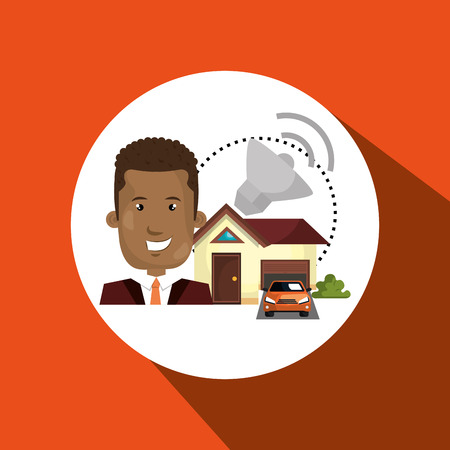 circuit sale: man house security protection vector illustration eps 10