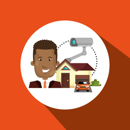 man house security protection vector illustration