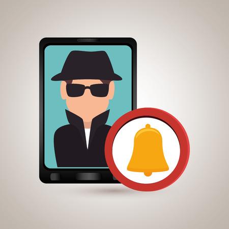 paranoia: man smartphone detective secure vector illustration