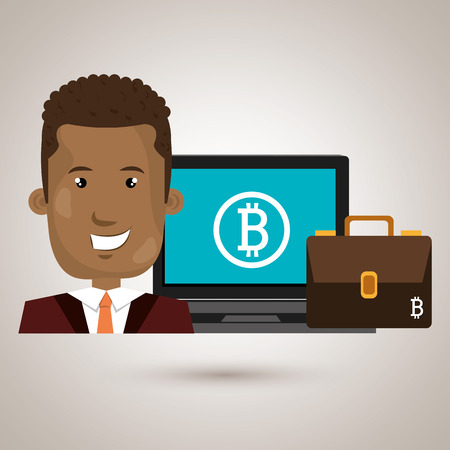 man with laptop: man laptop bitcoin online vector illustration