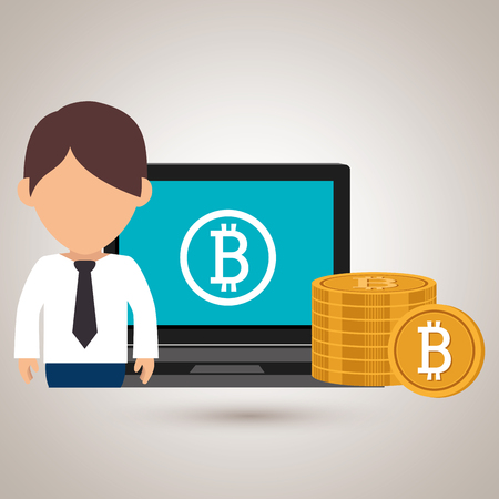 man with laptop: man laptop bitcoin online vector illustration