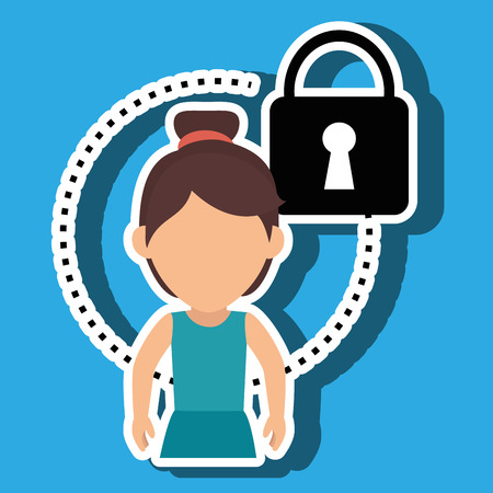 character padlock secure protection vector illustration eps 10 Illustration