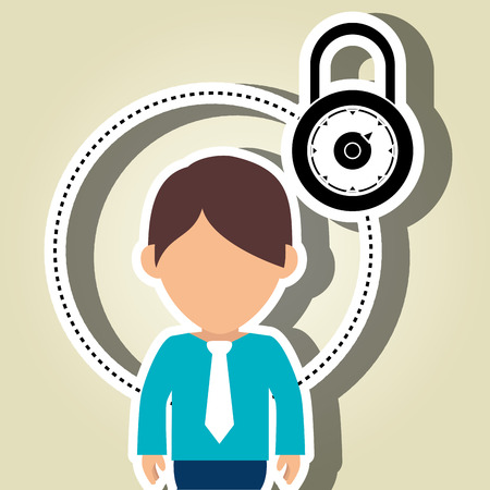 character secure protection vector illustration